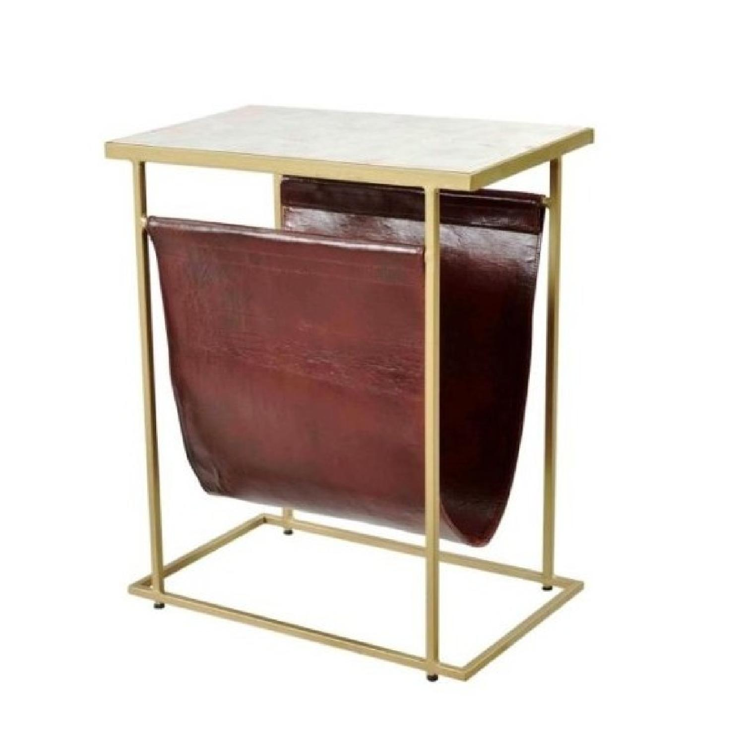 End Table w/ Marble Top & Brass Finish Legs & Leather Pouch - image-0