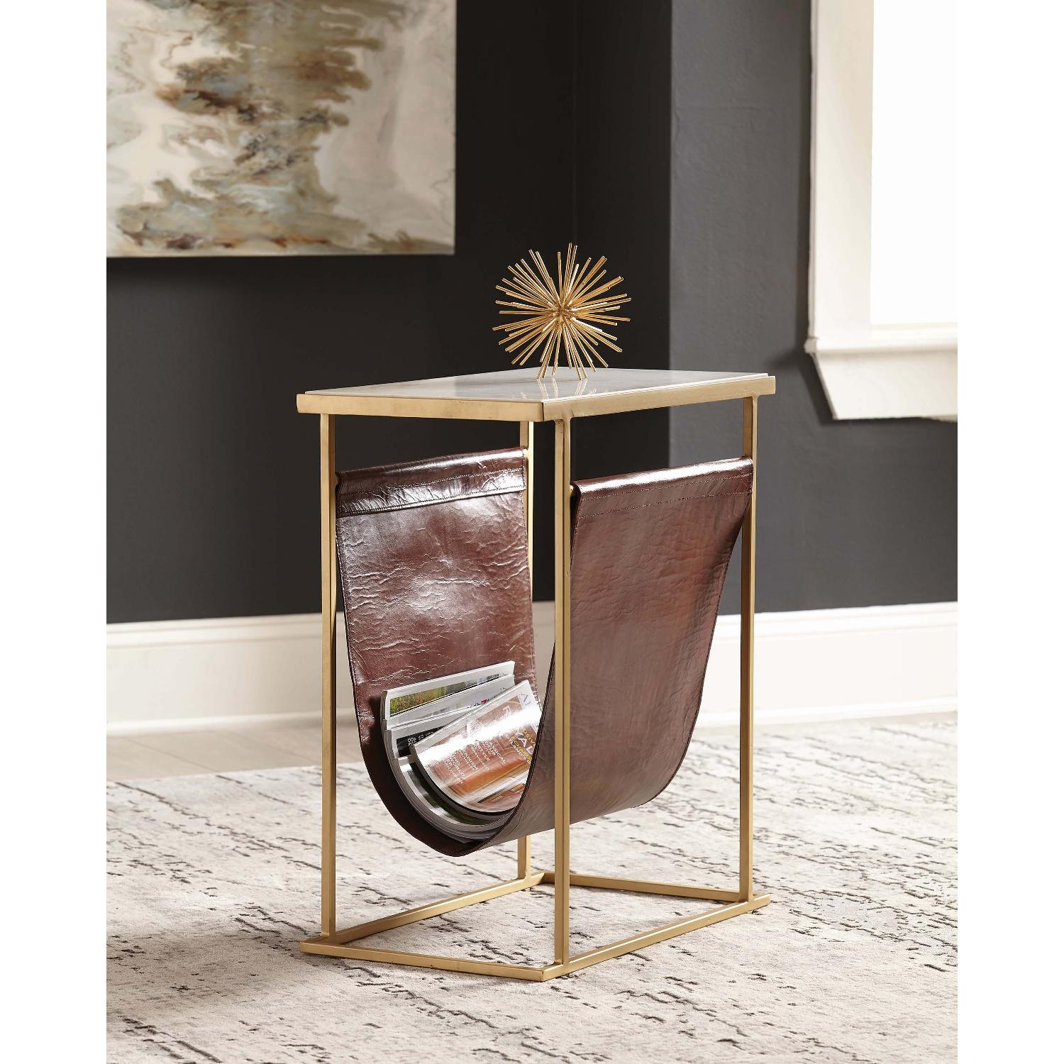 End Table w/ Marble Top & Brass Finish Legs & Leather Pouch - image-1