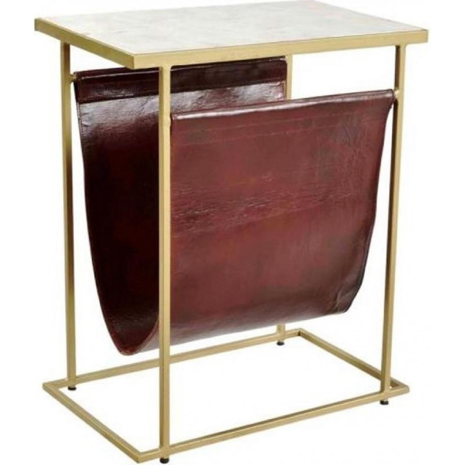 End Table w/ Marble Top & Brass Finish Legs & Leather Pouch - image-2