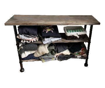 Rustic 2-Shelf Table w/ Black Accents