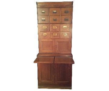 Large Antique Library Cabinet/Media Storage