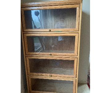 Wood 4-Tier Bookcase w/ Glass Doors