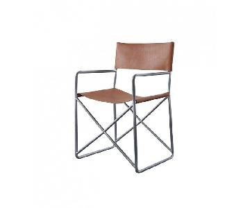 CB2 Tan Leather Director's Style Chair