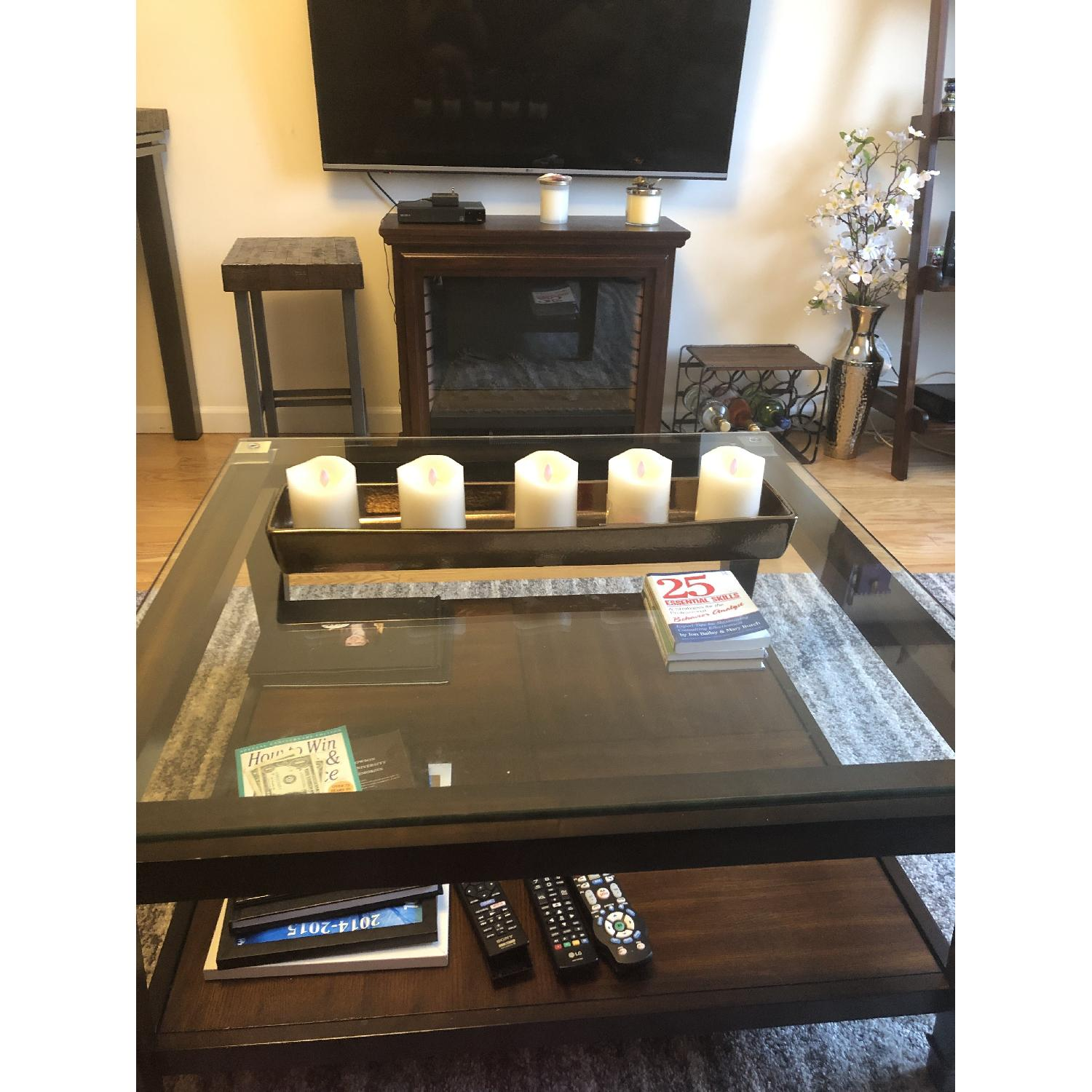 Raymour & Flanigan Dunhill Glass Coffee Table-0