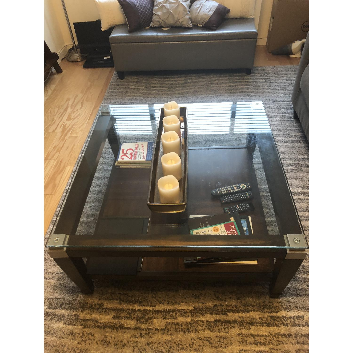 Raymour & Flanigan Dunhill Glass Coffee Table-1