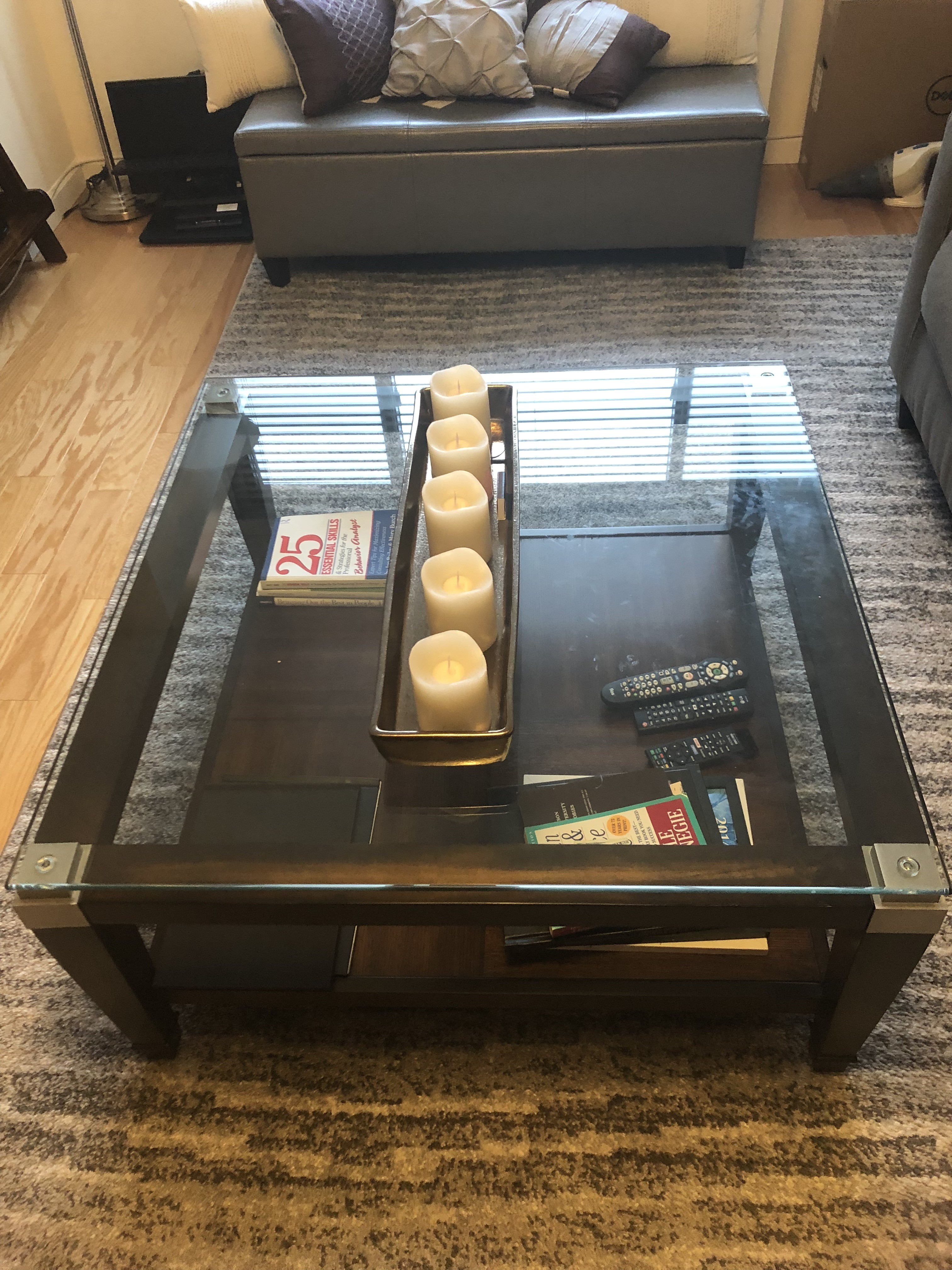 Raymour & Flanigan Dunhill Glass Coffee Table