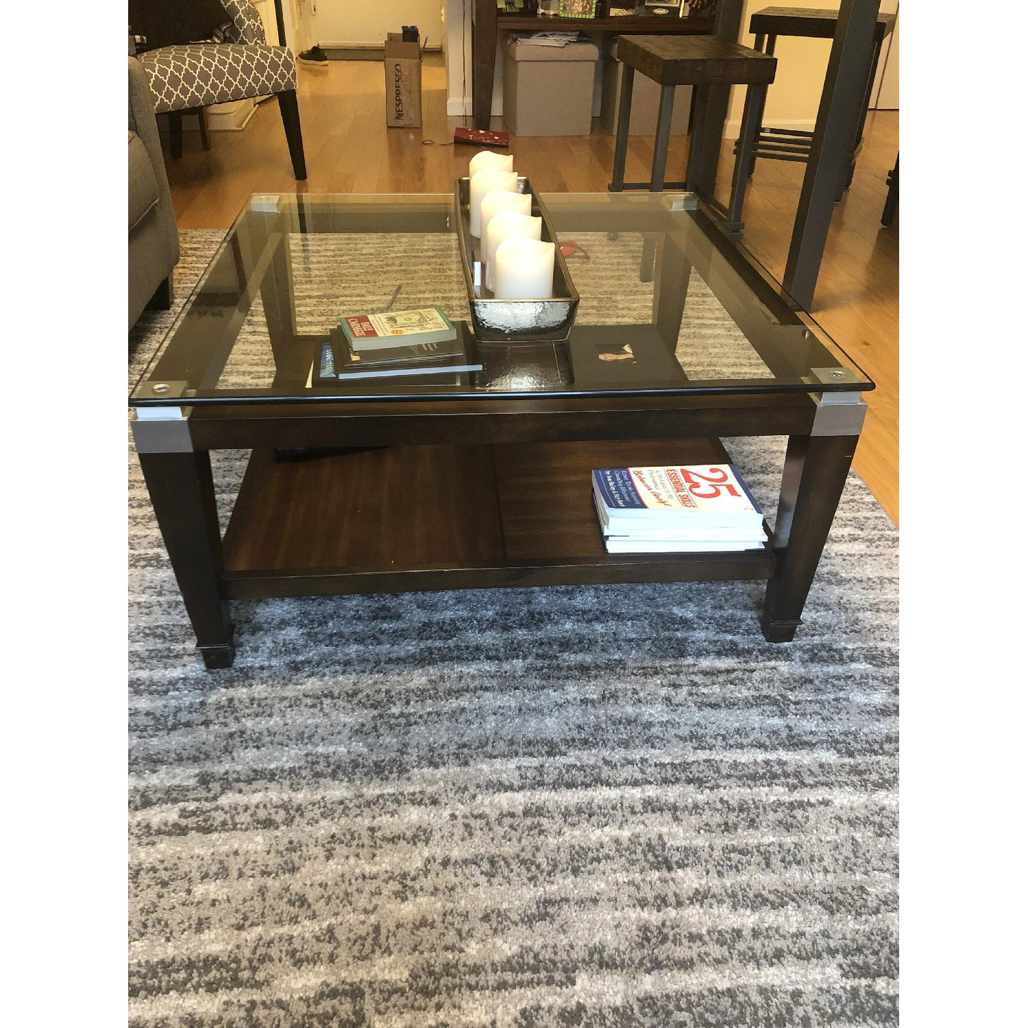 Raymour & Flanigan Dunhill Glass Coffee Table-2