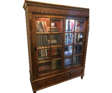 Ethan Allen Curio/Lawyer's Bookcase in Walnut Finish