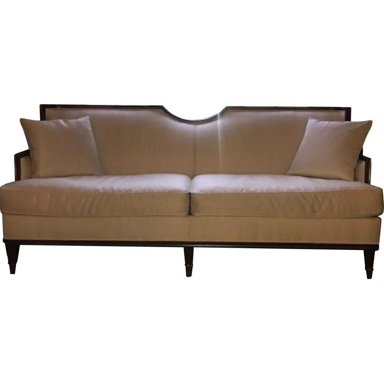 Drexel 18th Century Tight Back Sofa w/ Curve Wood Detail