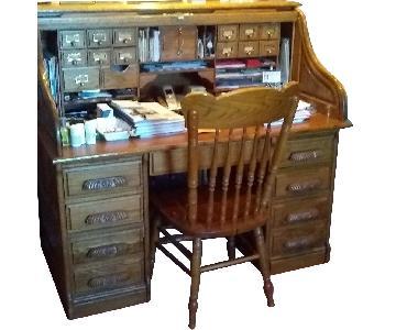 Simply Amish Roll Top Oak Desk