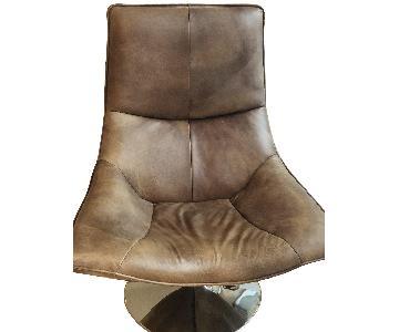Restoration Hardware Leather Hopper Bucket Chair in Chestnut