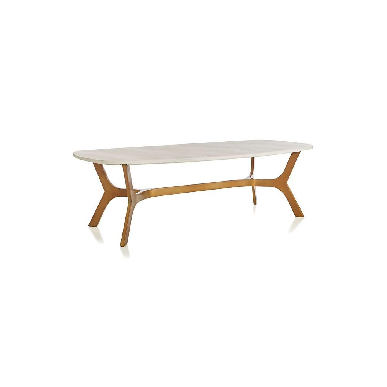 Crate & Barrel Elke Marble Coffee Table w/ Brass Base