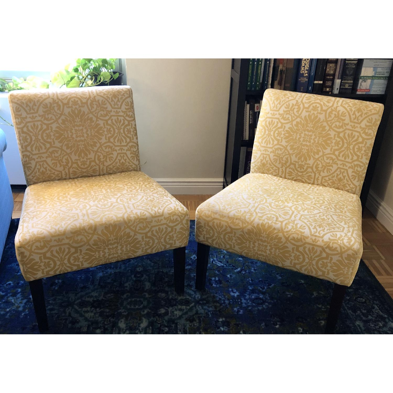 Handy Living Golden Yellow Damask Side Chairs - image-1