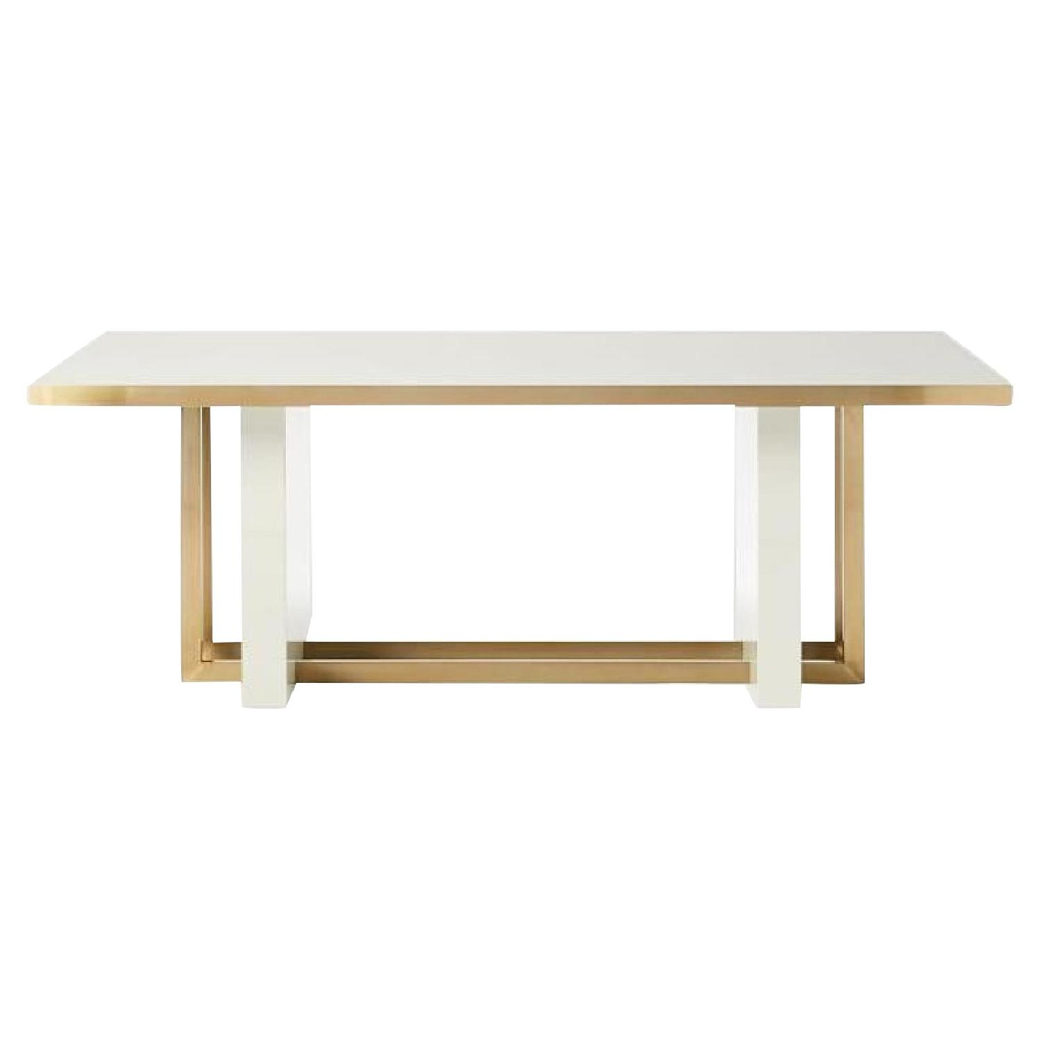 West Elm Whitney White Lacquer Tinsmi Dining Table