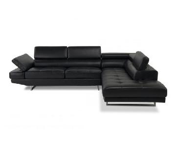 Bob's Black Leather Sectional Sofa