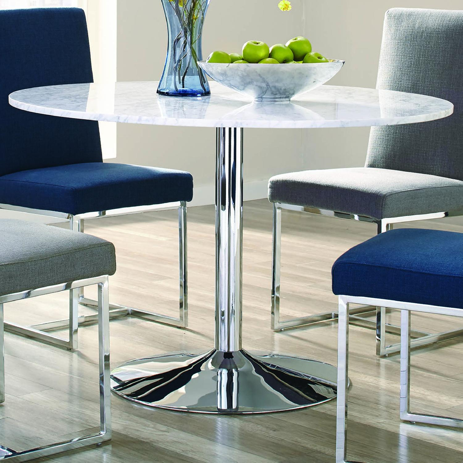 Modern Italian Marble Top Dining Table w/ Chrome Base - image-1