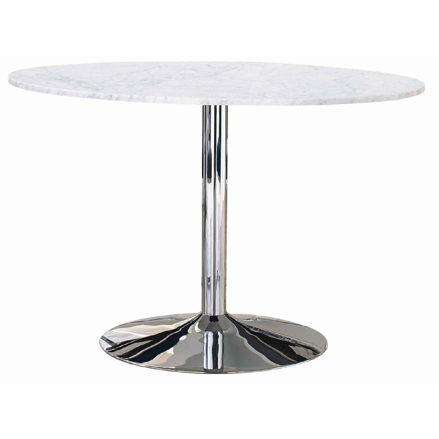 Modern Italian Marble Top Dining Table w/ Chrome Base - image-0