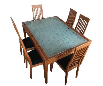 Caligaris Extendable Dining Table w/ 6 Chairs