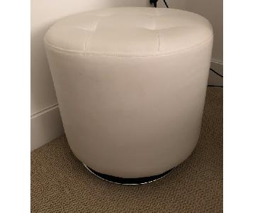 Home Goods White Tufted Leather Ottoman