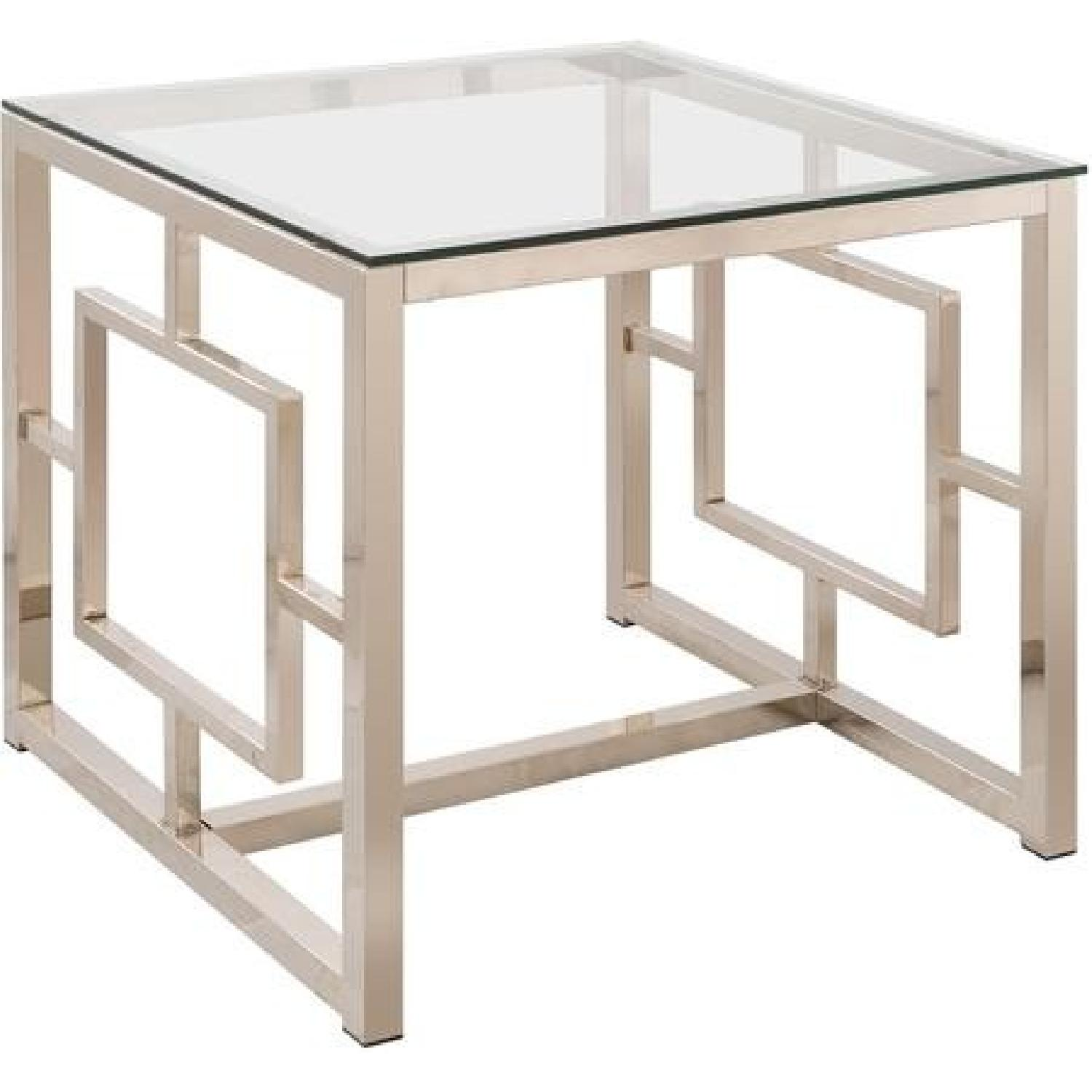 Contemporary Glass End Table in Nickel Finish