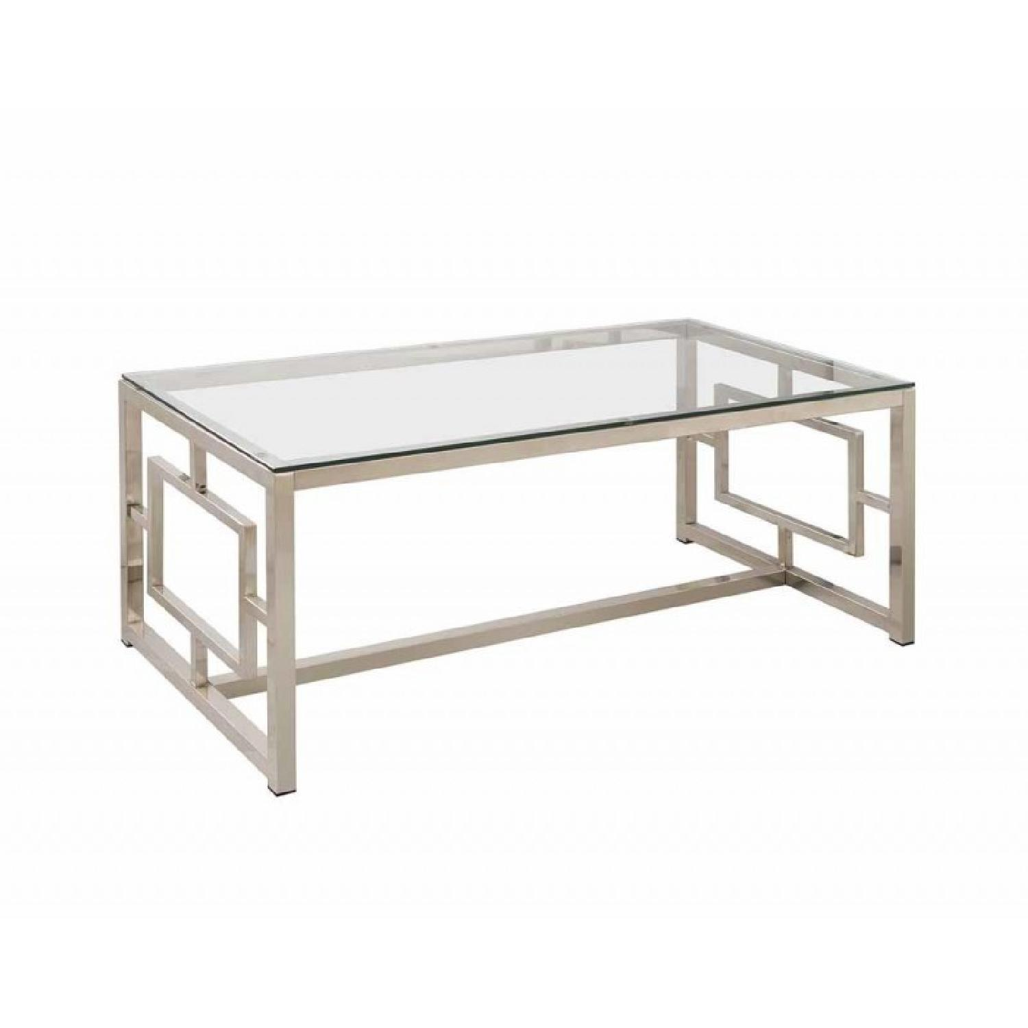 Contemporary Glass Coffee Table in Nickel Finish