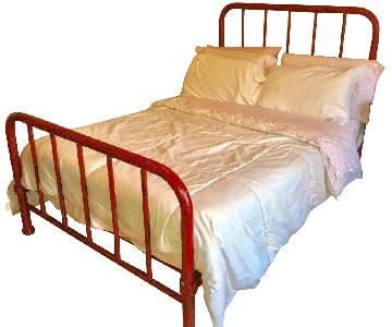 Vintage Red Early 1900 Cast Iron Bed