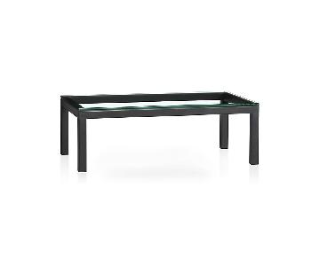 Crate & Barrel Black Glass Parsons Coffee Table