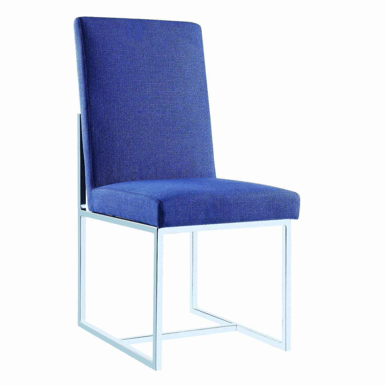 Modern Dining Chair in Blue Fabric w/ Chrome Legs