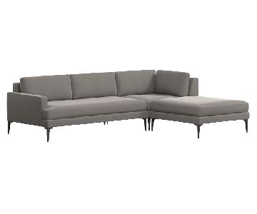 West Elm Andes 3-Piece Sectional Sofa in Performance Velvet