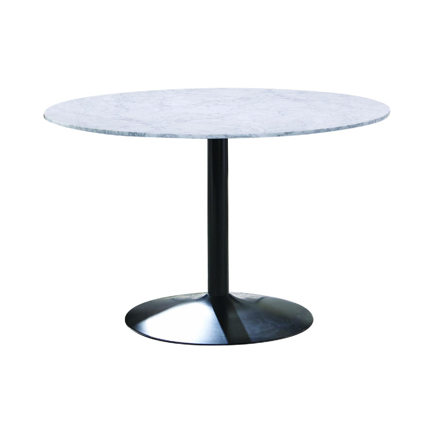 Modern Italian Marble Top Dining Table w/ Black Base - image-1