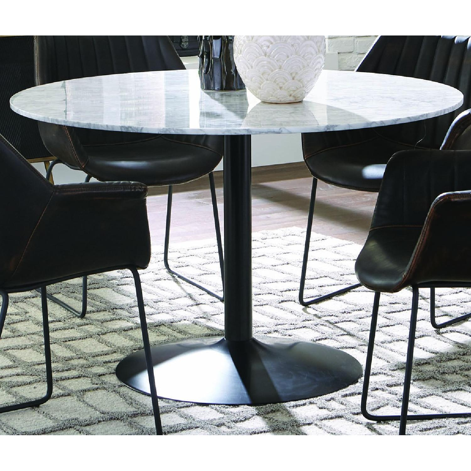 Modern Italian Marble Top Dining Table w/ Black Base - image-2