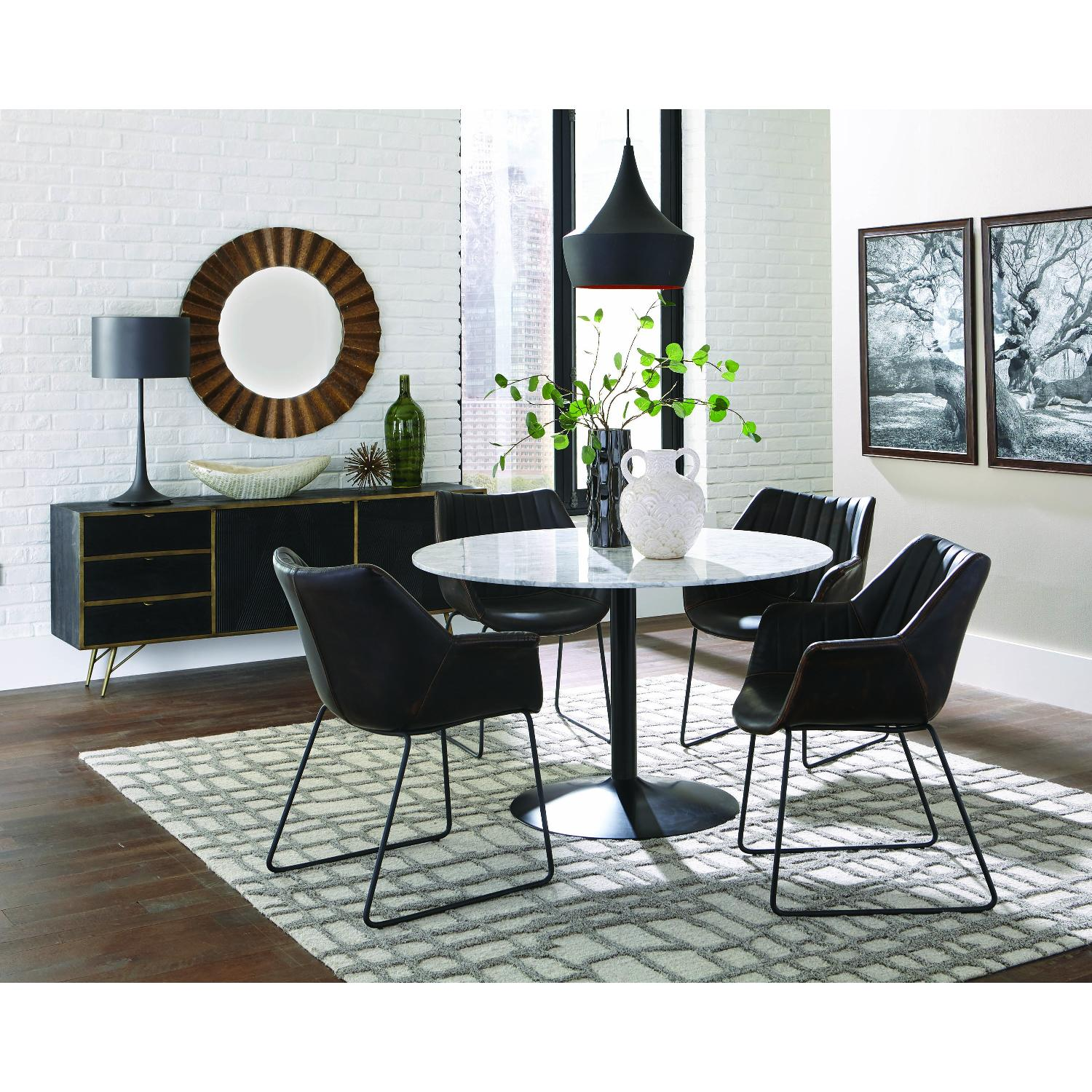 Modern Italian Marble Top Dining Table w/ Black Base - image-4