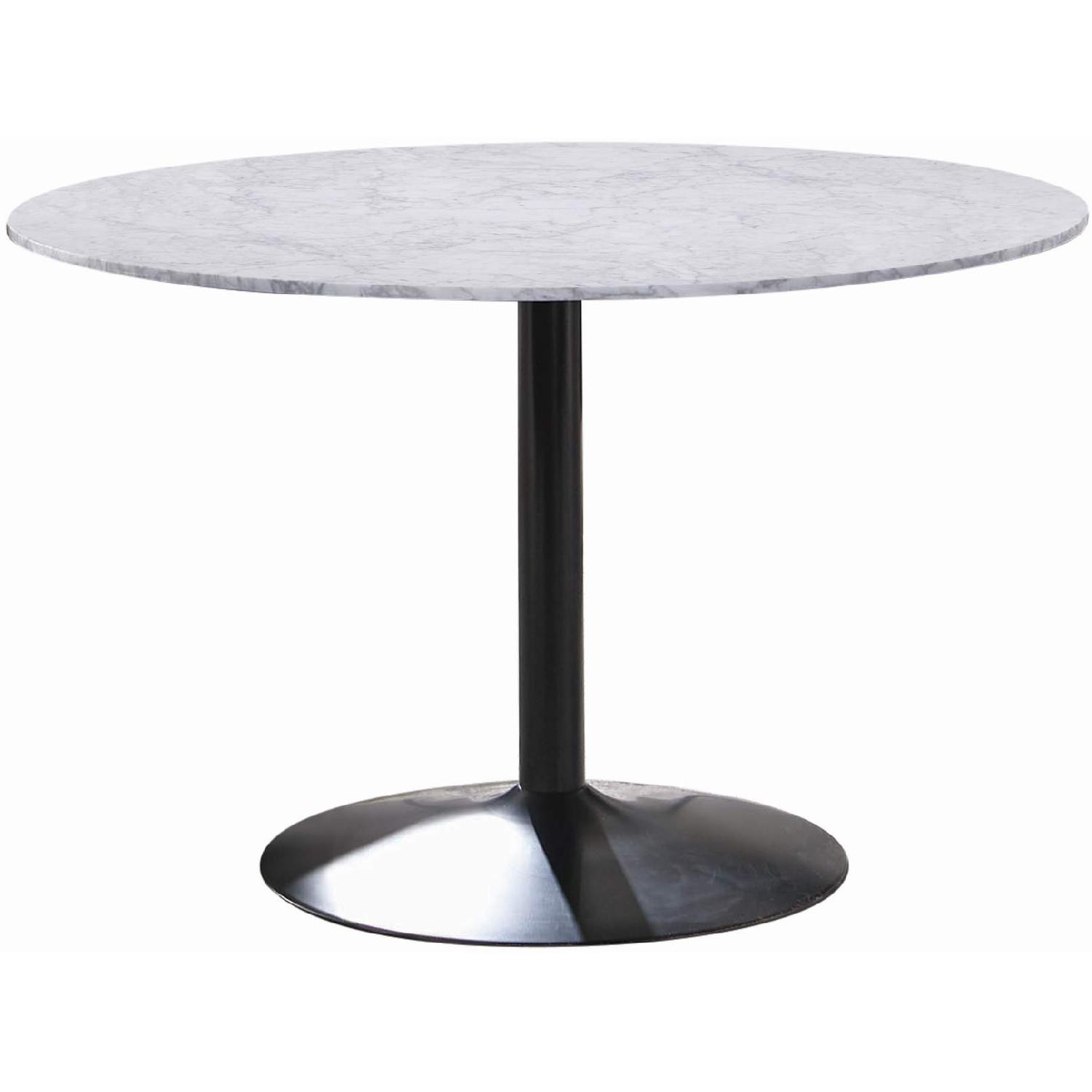 Modern Italian Marble Top Dining Table w/ Black Base - image-0