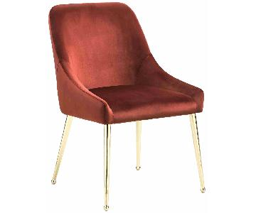 Modern Dining Chair in Spicy Henna Fabric w/ Brass Color Leg