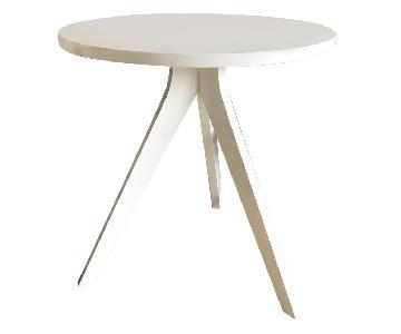 West Elm Tripod Bistro Table w/ 2 CB2 Black Acacia Chairs