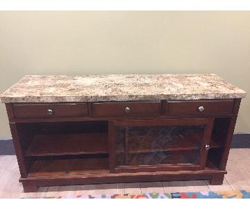 Faux Marble Top Wood TV Stand w/ Drawers & Glass Door