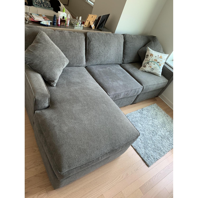 Macy\'s Dark Grey Fabric Chaise Sectional Sofa - AptDeco