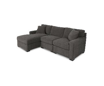 Macy's Dark Grey Fabric Chaise Sectional Sofa