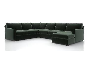Crate & Barrel 5 Piece U Shape Grey Sectional Sofa