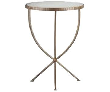 Crate & Barrel Jules Brass & Antique Mirror Accent Table