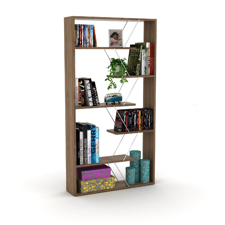 Tamara Trading Walnut Chrome Bookcase