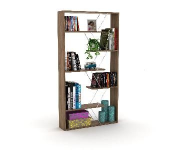 Tamara Trading Walnut Chrome Bookcase