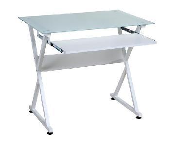 OneSpace Glass Computer Desk in White