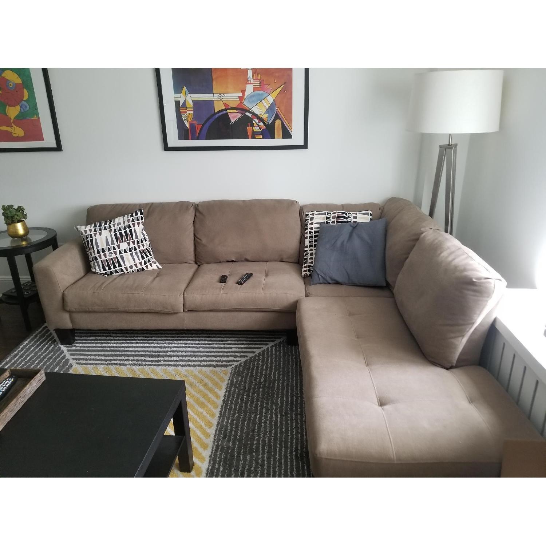 Jennifer Furniture L-Shape Sectional Sofa & Ottoman - AptDeco
