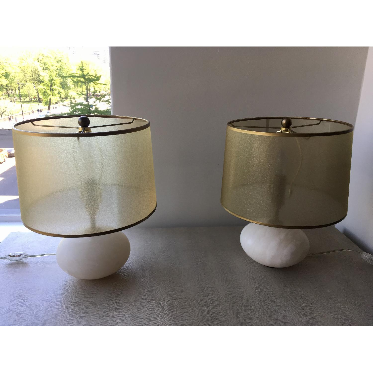 Regina Andrew Modern Alabaster Orb Lamps w/ Gold Shade-1