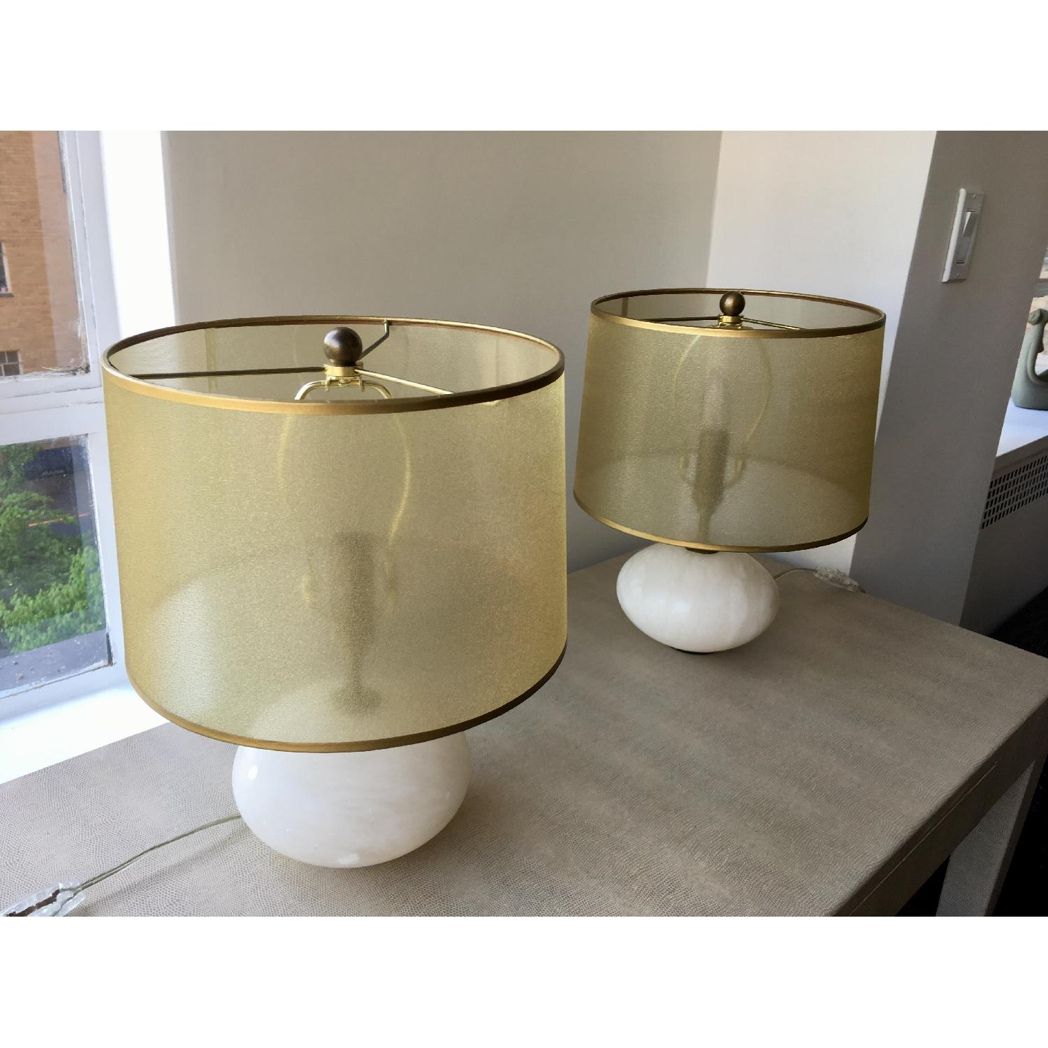 Regina Andrew Modern Alabaster Orb Lamps w/ Gold Shade