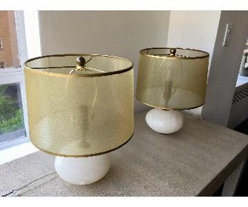 Regina Andrew Modern Alabaster Orb Lamps w/ Gold Shade