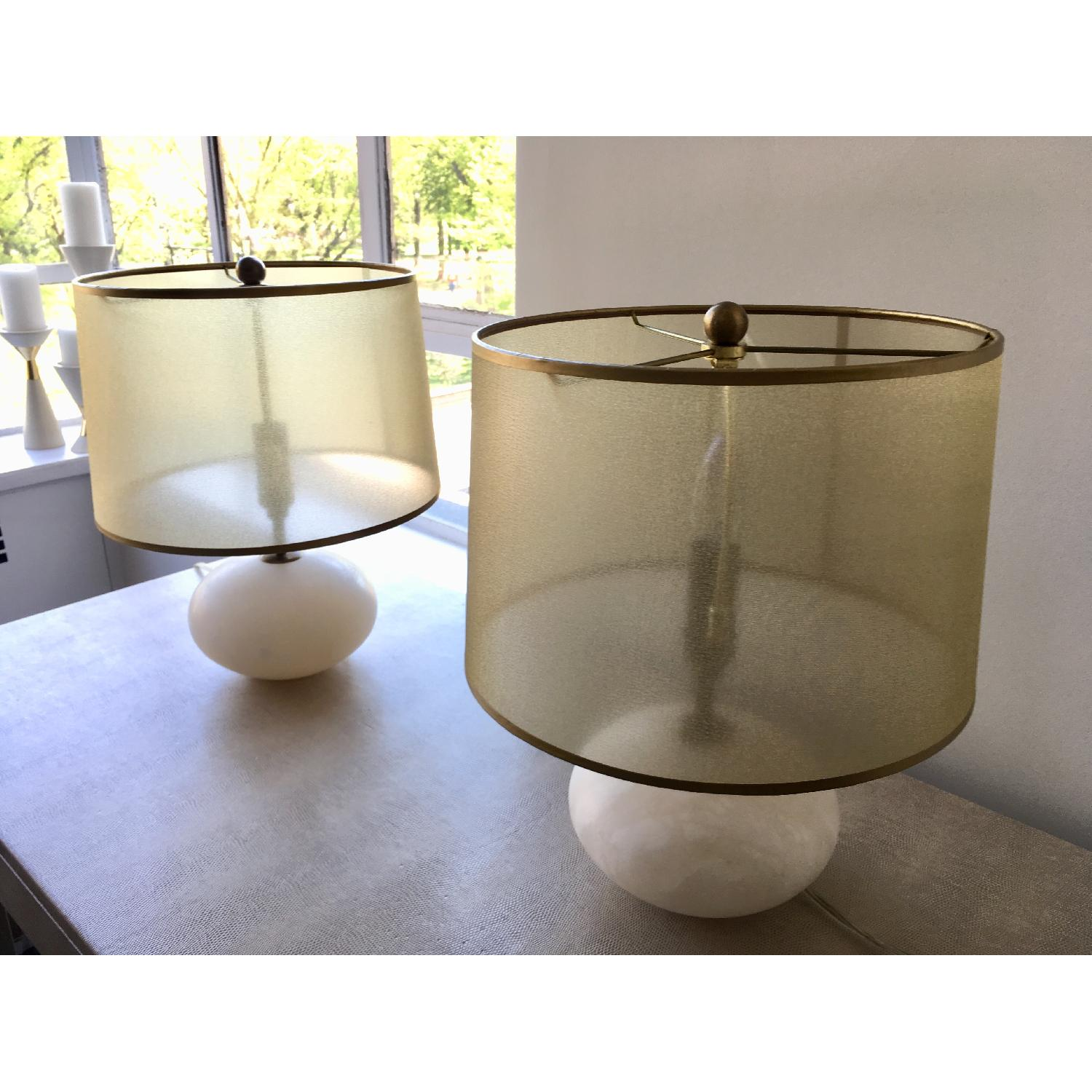 Regina Andrew Modern Alabaster Orb Lamps w/ Gold Shade-4