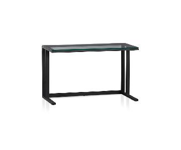 Crate & Barrel Pilsen Graphite Desk w/ Glass Top