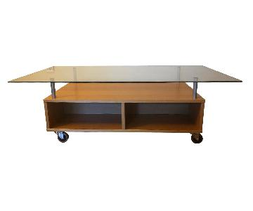 Ikea Glass & Wood Finish Coffee Table with Wheels